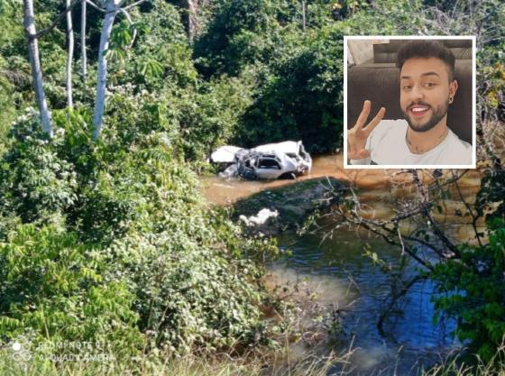 Jovem de Cuiabá morre após desviar de buraco e cair com carro em córrego