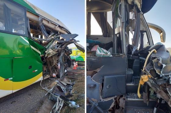 Ônibus bate contra traseira de carreta e 7 ficam feridos