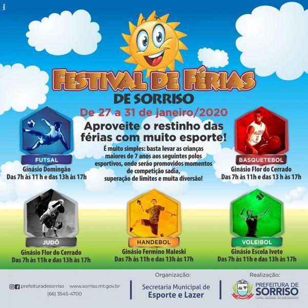 Com o Festival de Férias, Prefeitura oferece atividades esportivas em quatro pontos diferentes de Sorriso