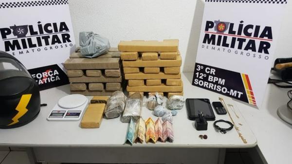 Polícia apreende mais de 30 kg de drogas em Sorriso e 8 são levados à delegacia