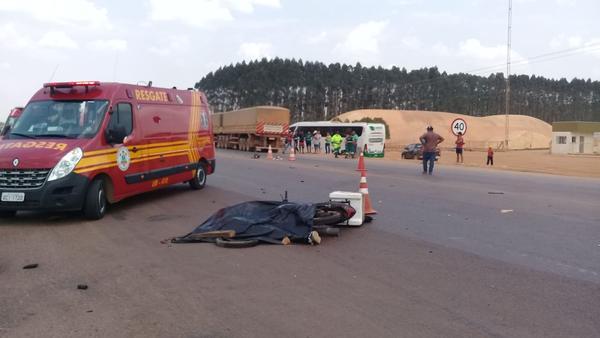 Pista liberada após acidente que vitimou motociclista na BR 163