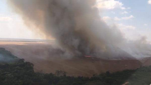 Sorriso: Incêndio em palhada mobiliza CIOPAER, Bombeiros e funcionários de fazendas